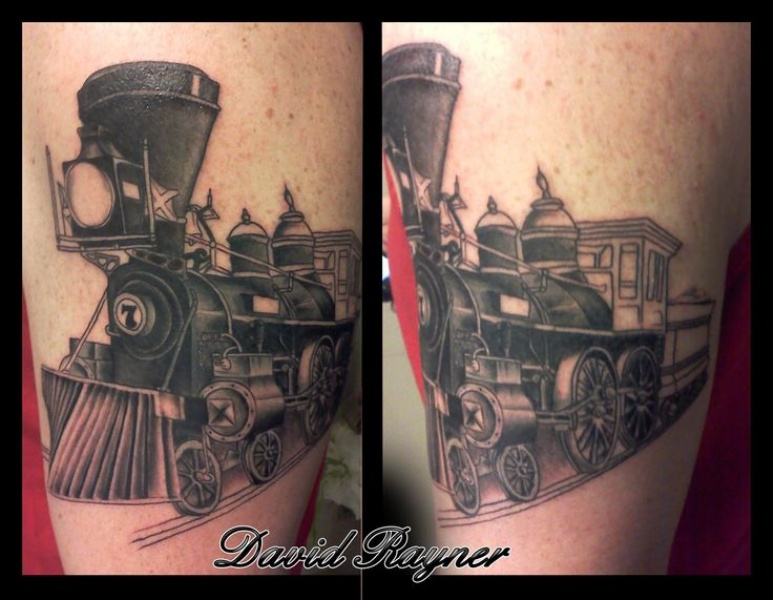 Colored upper arm tattoo of vintage train