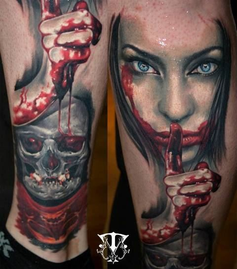 Colorful ankle tattoo of bloody woman with skull