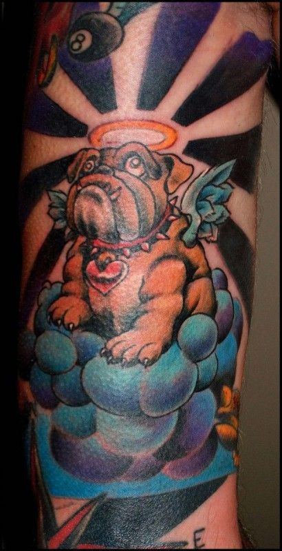 Coloured bulldog angel in heaven tattoo