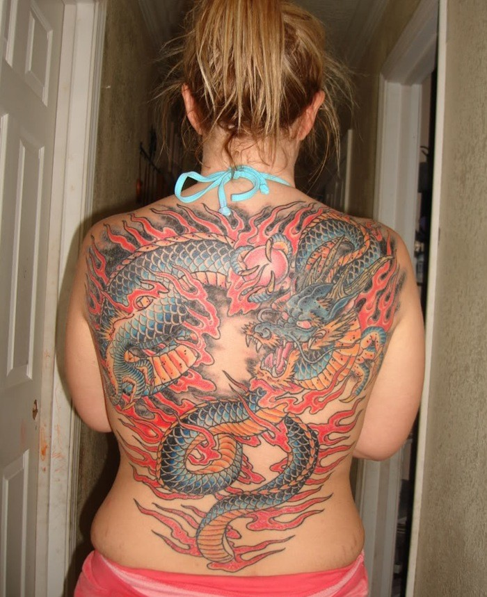 Cool full back chinese dragon tattoo in color