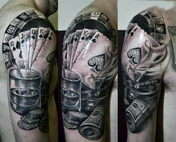 Cool gambling themed 3D like black ink tattoo on shoulder