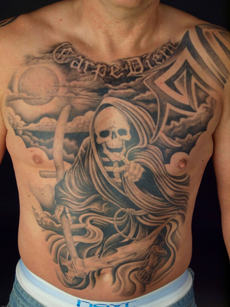 Cool great grim reaper tattoo on chest and stomach