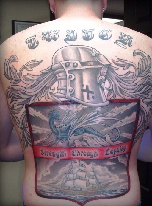 Cool idea of family crest tattoo on whole back