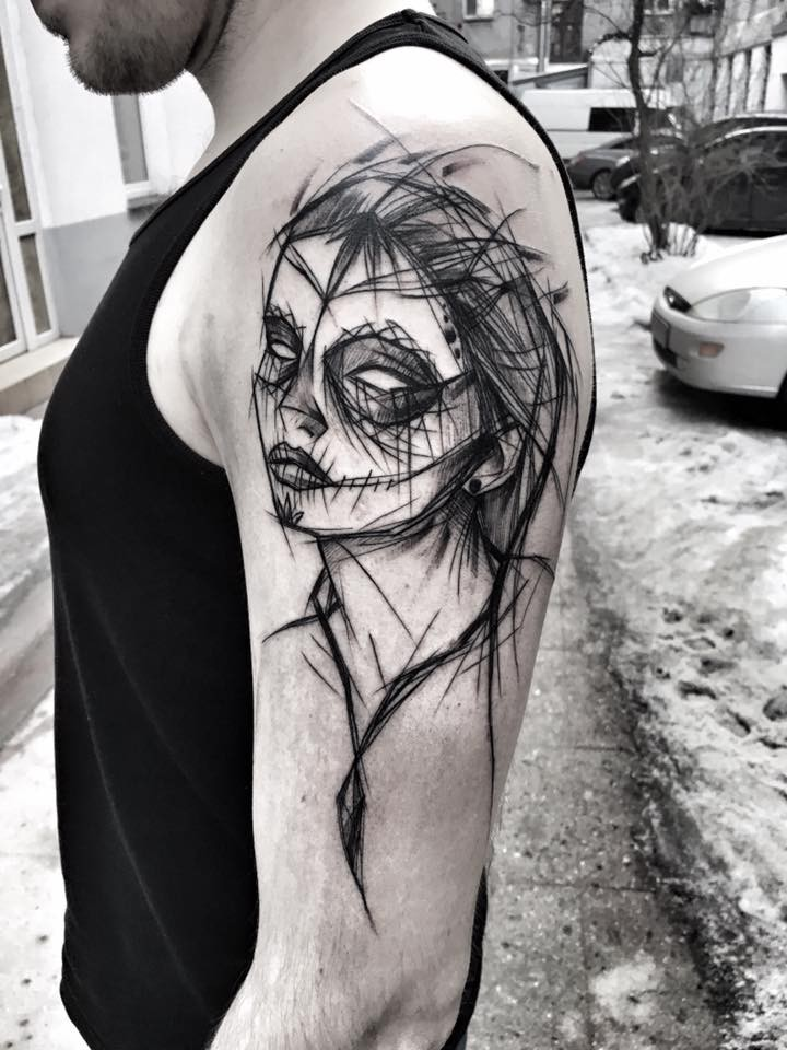 Cool Mexican traditional black ink painted by Inez Janiak tattoo of woman with mask