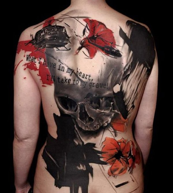 Cool trash polka skull and red roses tattoo on full back