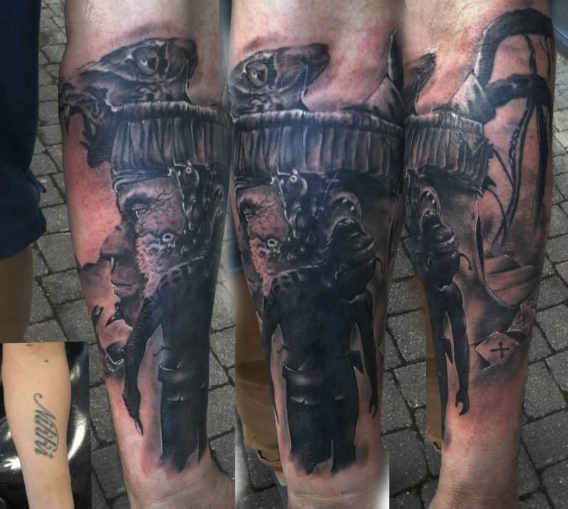 Creepy looking black and gray style Hinduism man elephant