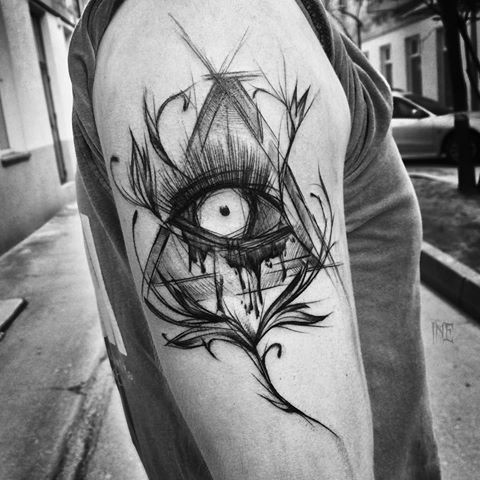 Creepy looking black ink painted by Inez Janiak tattoo sketch of triangle with mystic eye
