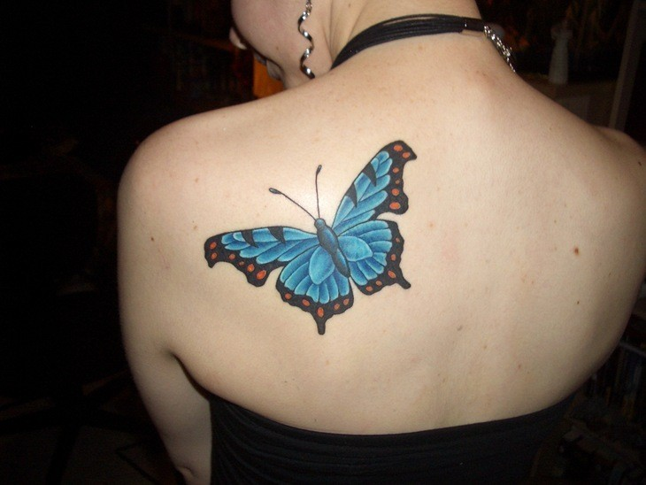Cute back butterfly tattoos for girls