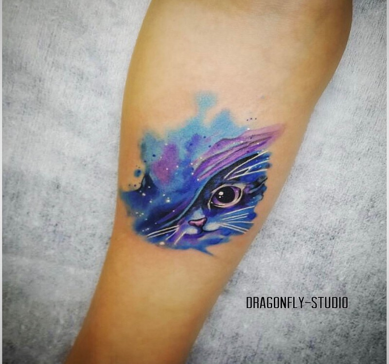 Cute for girls style colored forearm tattoo of magical cat