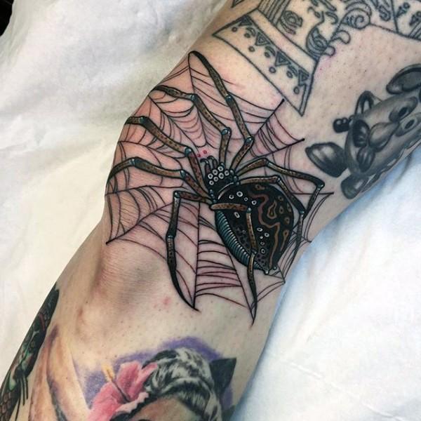 Cute illustrative style beautiful looking spider tattoo on knee