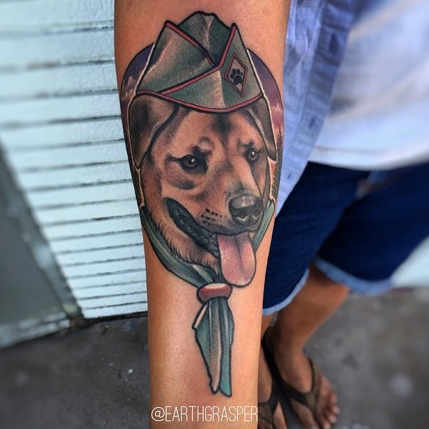 Cute new school style colored forearm tattoo of military dog