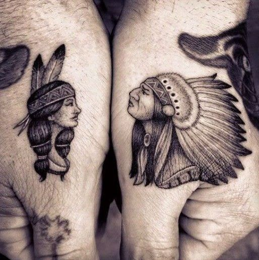 Cute portraits of native american women and men tattoo on hand