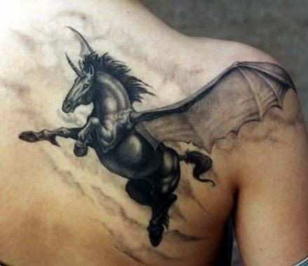 Dark horse pegasus with wings tattoo on shoulder blade