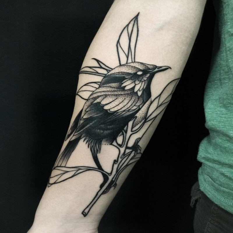 Demonic dotwork style painted by Michele Zingales forearm tattoo of cute bird with tree branch
