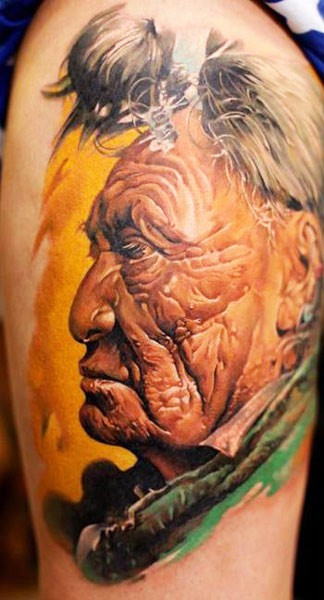 Detailed portrait of an old indian tattoo by Dmitriy Samohin