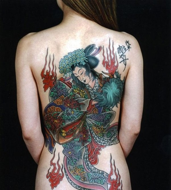 Detailed realistic geisha tattoo on whole back