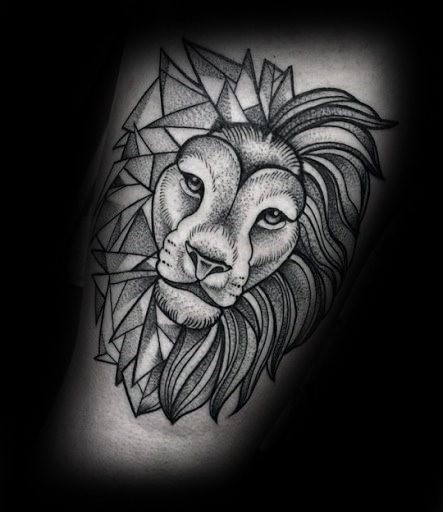 Dot style black ink tattoo of simple lion head