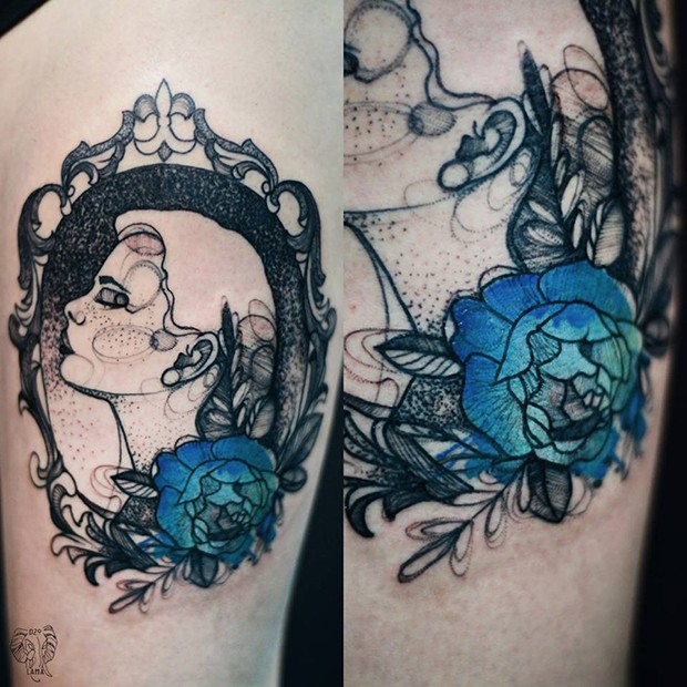 Dot style colored by Joanna Swirska tattoo of woman portrait with blue rose