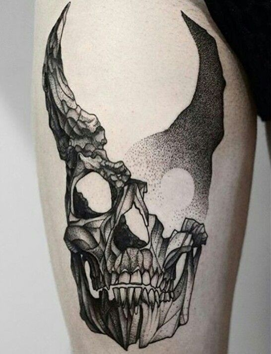 Dot style fantastic painted thigh tattoo of devils skull