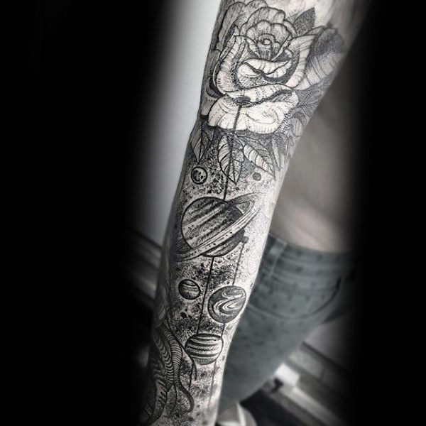 Dotwork style accurate combined sleeve tattoo of planets with rose
