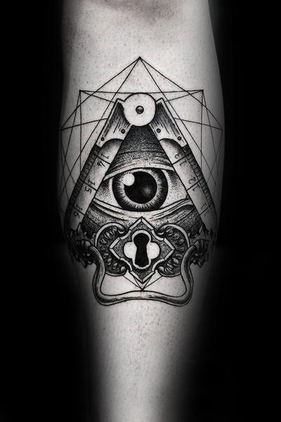 Dotwork style black ink forearm tattoo of human eye with keyhole