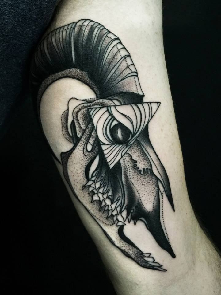 Dotwork style impressive painted by Michele Zingales animal skull tattoo