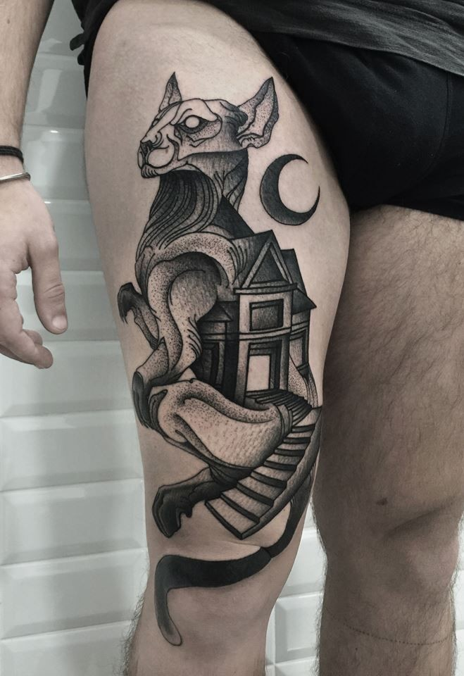 Dotwork style nice painted by Michele Zingales thigh tattoo of cat combined with old house