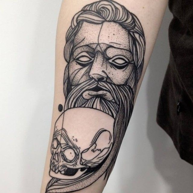 Dotwork style old looking painted by Michele Zingales of statue with skull