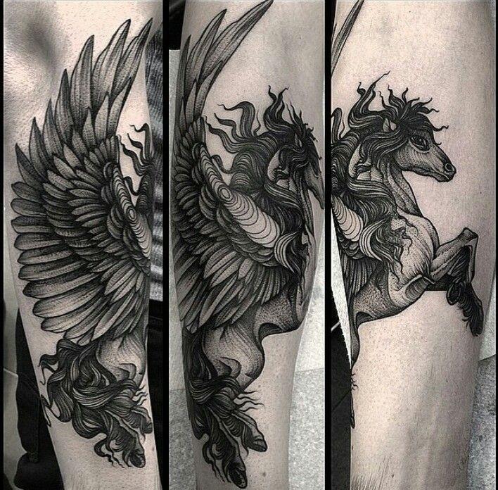 Engraving style black ink arm tattoo of pegasus horse