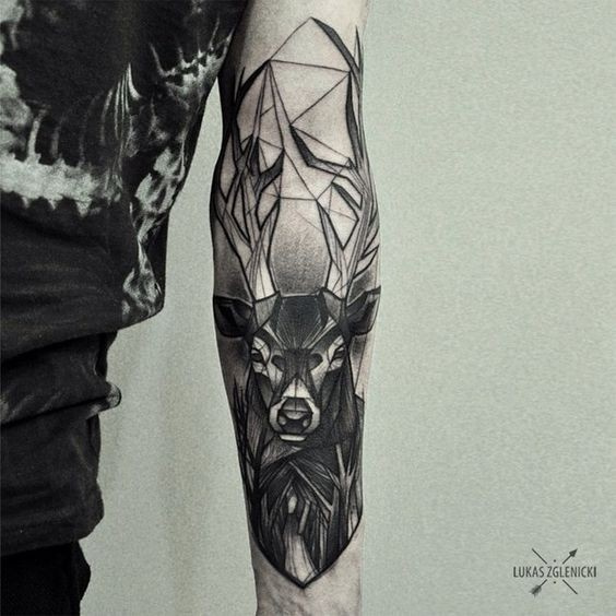 Engraving style black ink arm tattoo of big deer