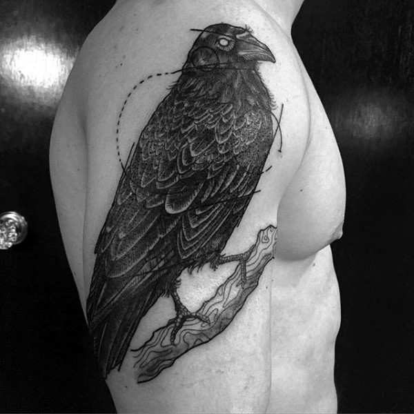 Engraving style black ink shoulder tattoo of crow on tree branch