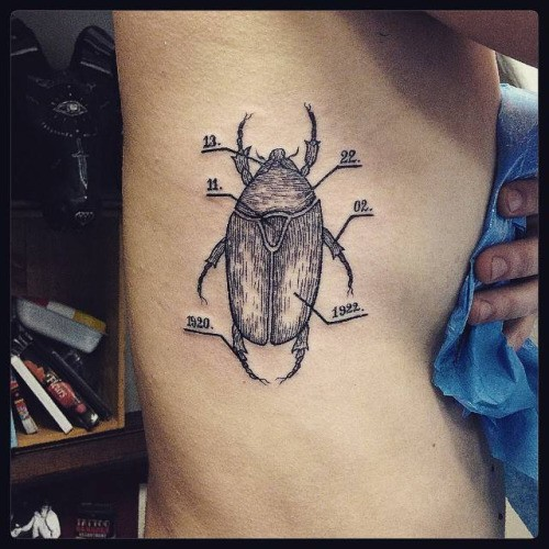 Engraving style black ink side tattoo of big bug with numbers