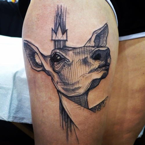 Engraving style black ink thigh tattoo of deer with crown