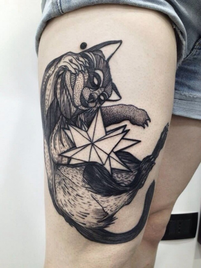 Engraving style black ink thigh tattoo of raccoon with star