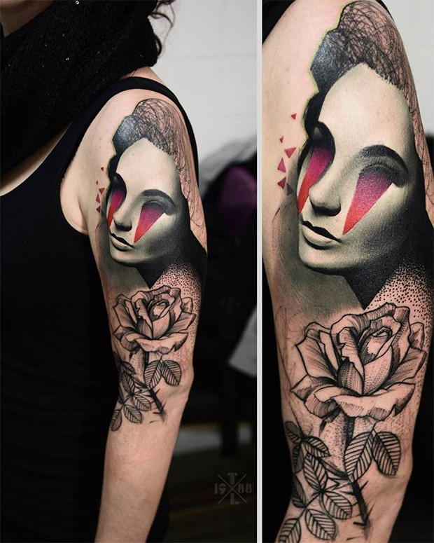 Engraving style colored half sleeve tattoo of mystical woman with rose