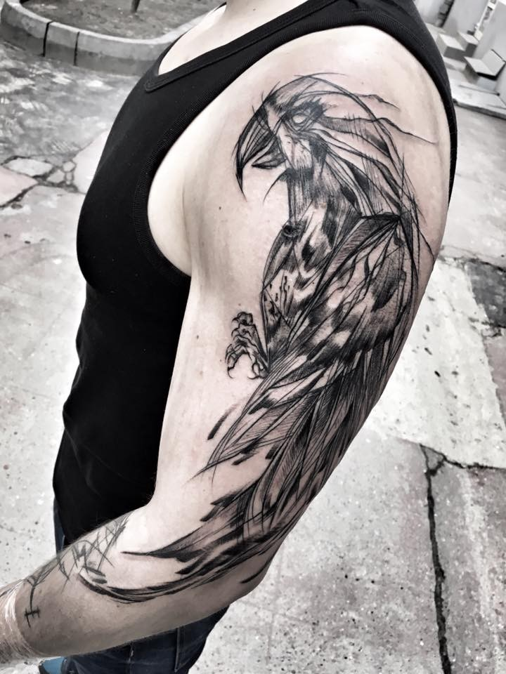 Enormous blackwork style painted by Inez Janiak half sleeve tattoo of cool parrot