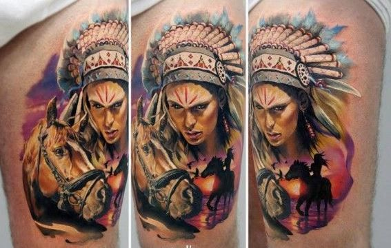 Epic native american composition tattoo on thigh by Ryabova