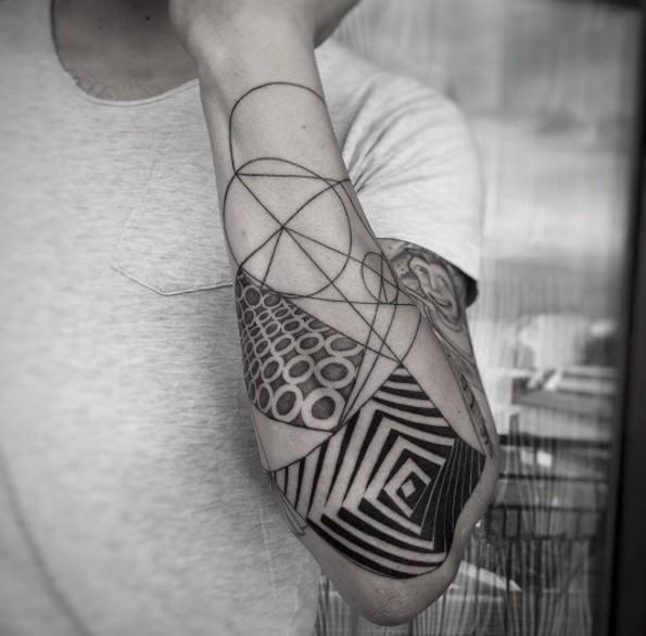 Fabulous black ink half sleeve tattoo of various hypnotic figures