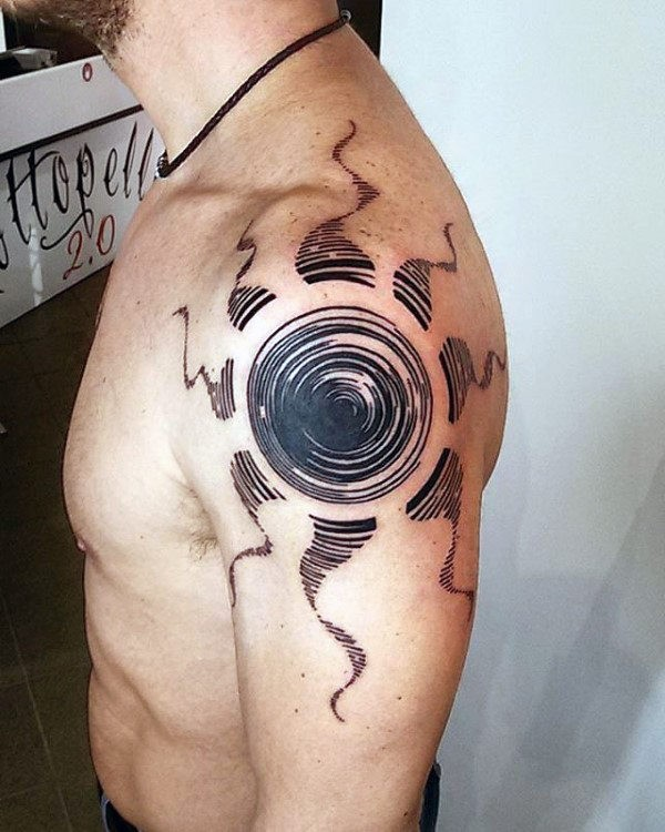 Fantastic linework style upper arm tattoo of creative painted sun