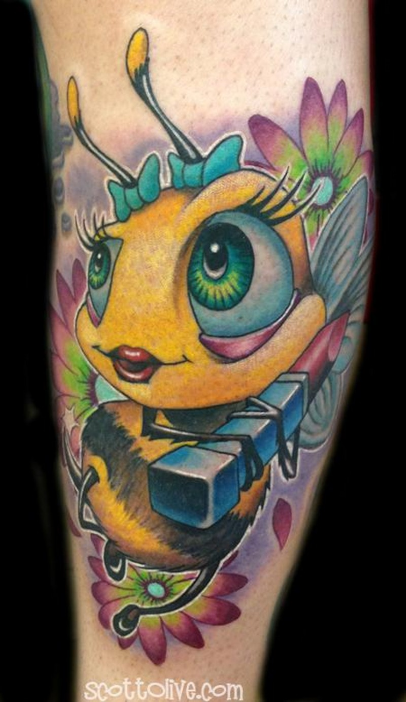 Fantasy cartoon colored leg tattoo of cute bee with lipstick