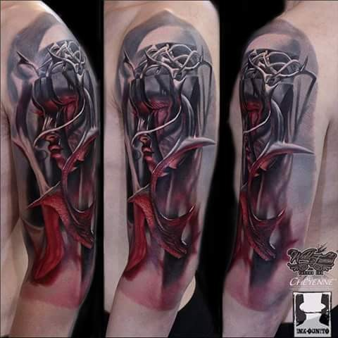 Fantasy style colored half sleeve tattoo of mystic woman with horns