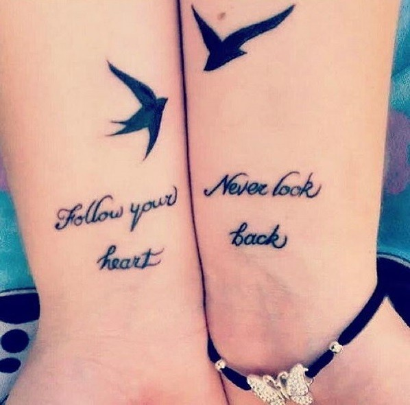 Friendship quote tattoos with birds on wrists