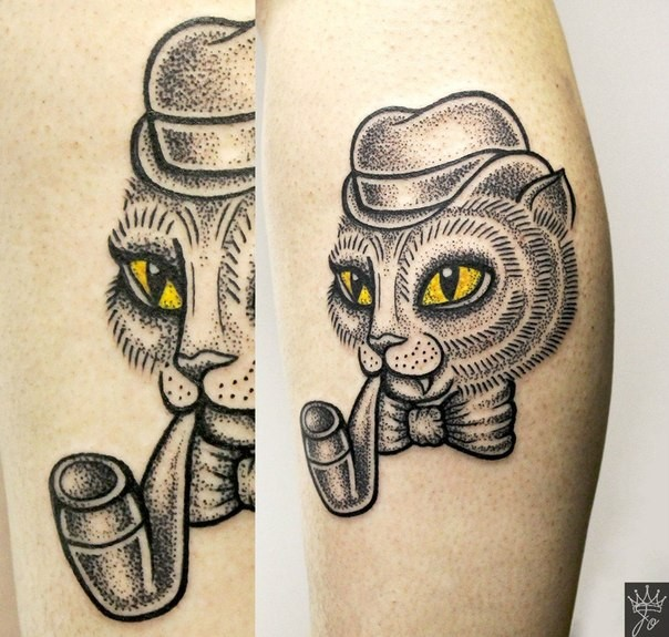Funny fairy tale gentleman cat smoking pipe detailed colored tattoo