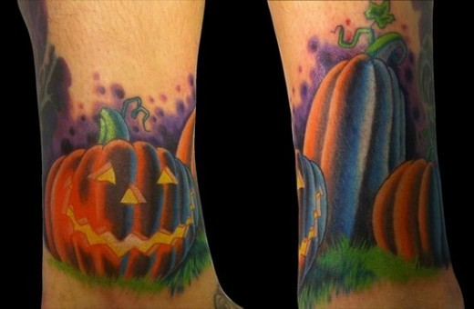 Funny fairy tale Halloween pumpkin tattoo with violet shadow