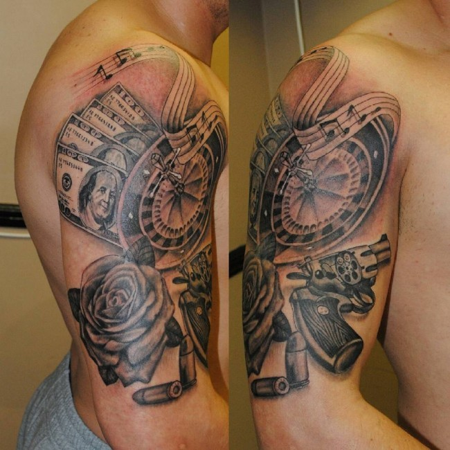 Gambling themed black and white casino roulette tattoo on shoulder combined with pistol and money