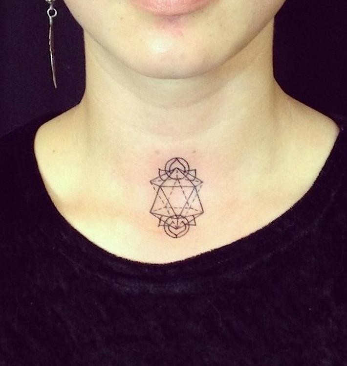 Geometric lily throat tattoo for girls