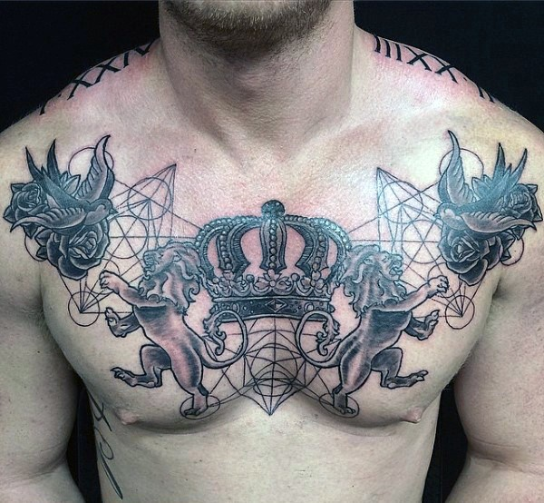 Geometrical style black ink chest tattoo of family crest with lions