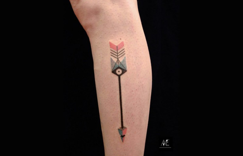 Geometrical style colored tattoo of breathtaking arrow