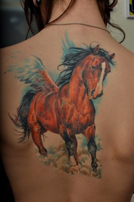 Great beautiful pegasus tattoo on back