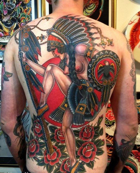 Great coloured native american girl warrior tattoo on back by Valerie Vargas